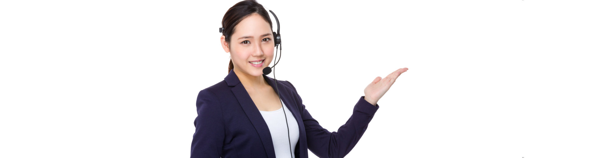Call center agent with hand presentation