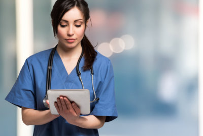 nurse using an ipad
