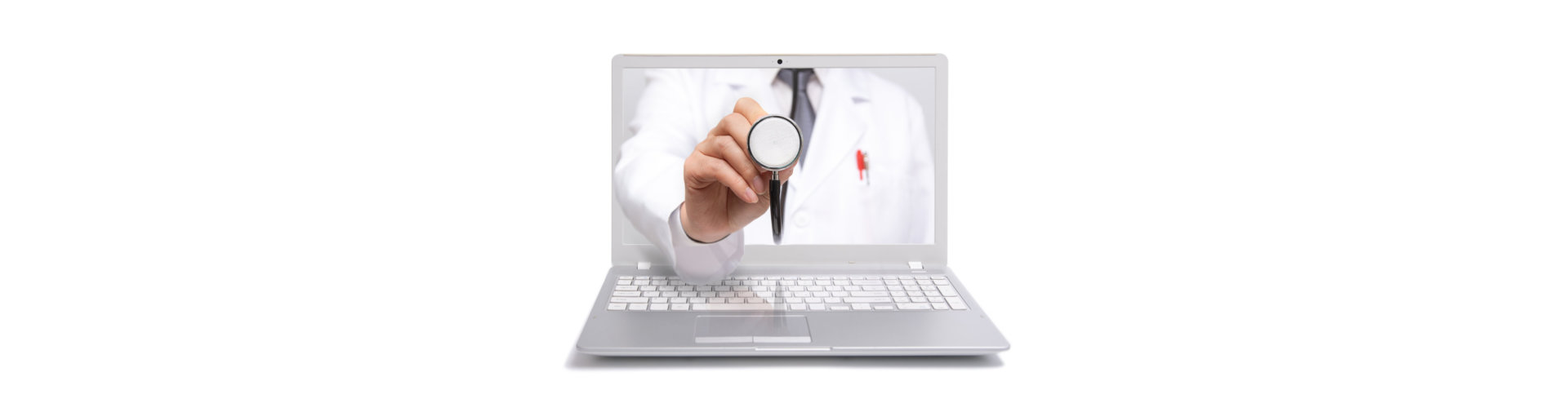 a doctor showing on laptop