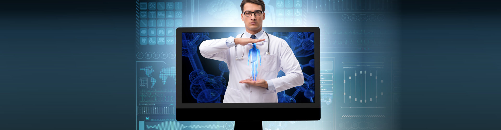 a doctor on a laptop screen holding a hologram of a human body