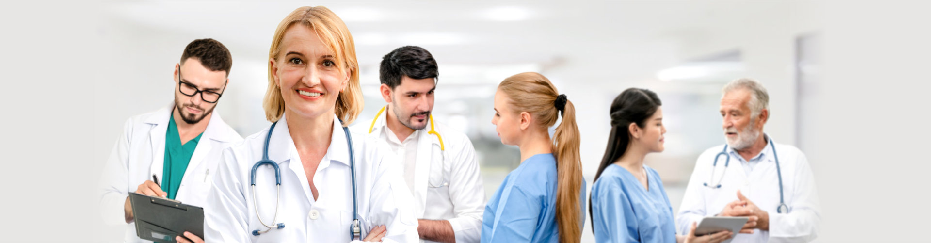 Professional doctor working in hospital office or clinic with other doctors