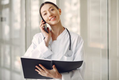 medical worker talking on a phone